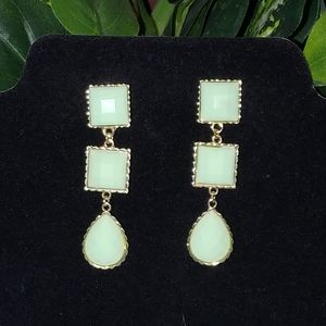 New Mint Green and Gold Statement Earrings